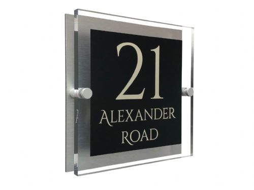 Block Shape - Clear Acrylic House Sign - Black Colour with Double Cream text in Font  1